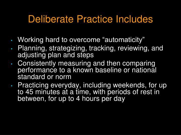 Deliberate Practice Includes