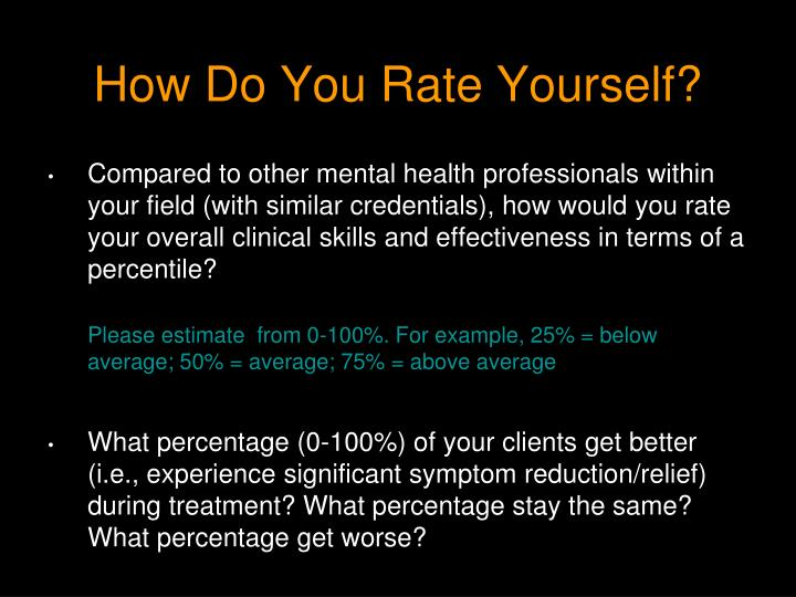 How Do You Rate Yourself?