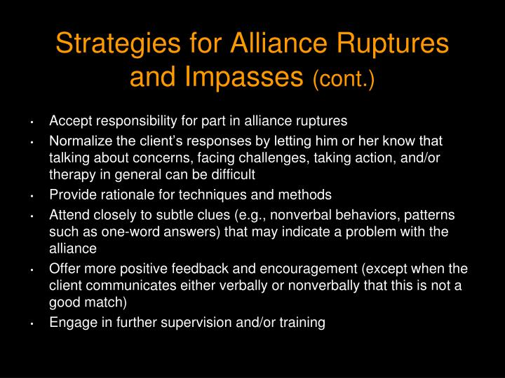 Strategies for Alliance Ruptures and Impasses