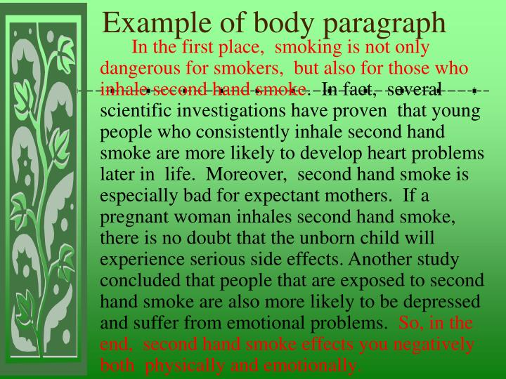 Example of body paragraph