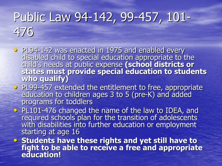 Public Law 94-142, 99-457, 101-476