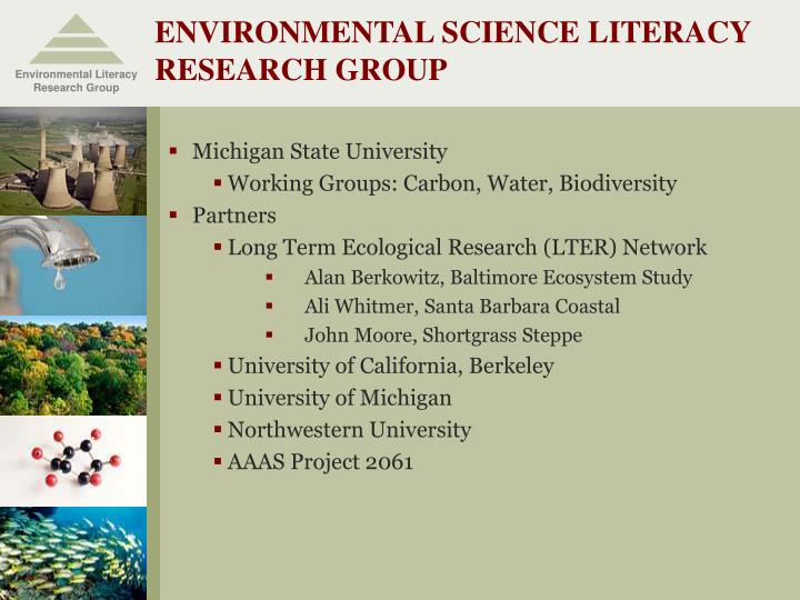 Environmental science literacy research group