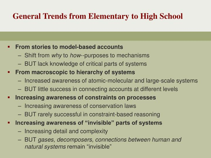 General Trends from Elementary to High School