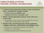 upper anchor accounts strands systems and processes