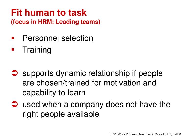 Fit human to task