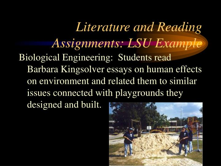Literature and Reading Assignments: LSU Example
