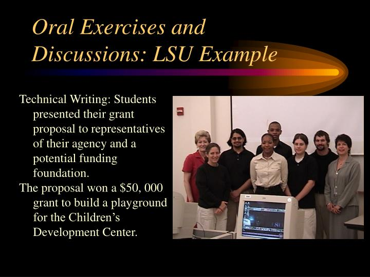 Oral Exercises and Discussions: LSU Example