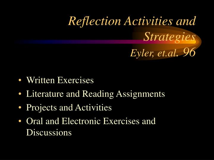 Reflection Activities and Strategies