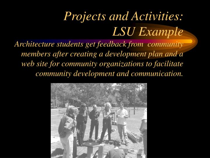 Projects and Activities:
