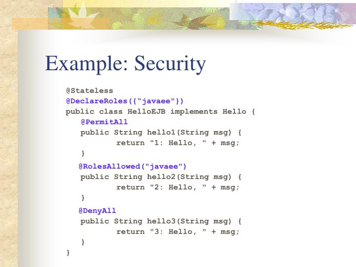 Example: Security