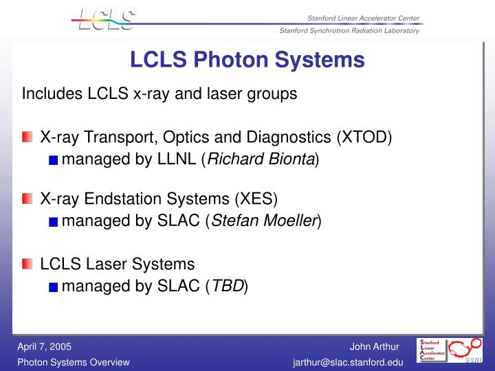 Lcls photon systems
