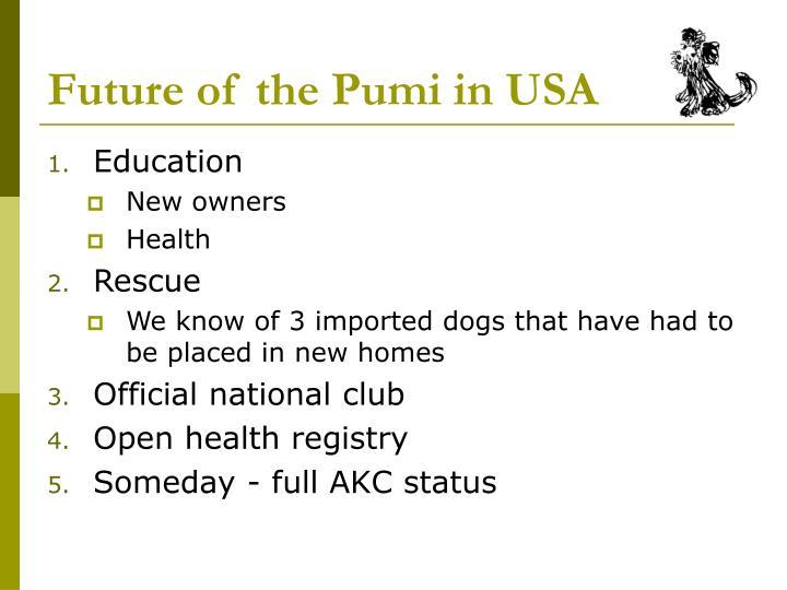 Future of the Pumi in USA