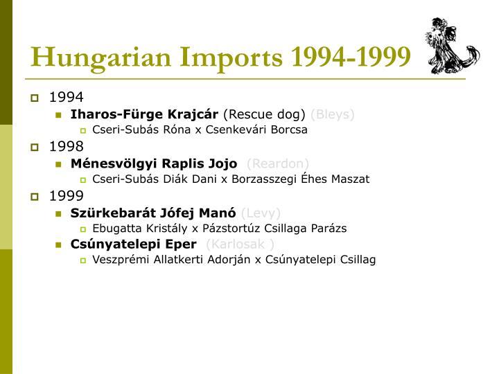 Hungarian Imports 1994-1999