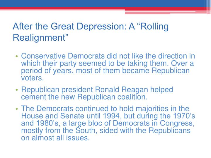 "After the Great Depression: A ""Rolling Realignment"""