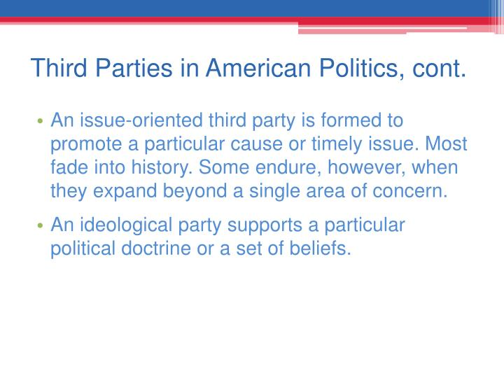 Third Parties in American Politics, cont.