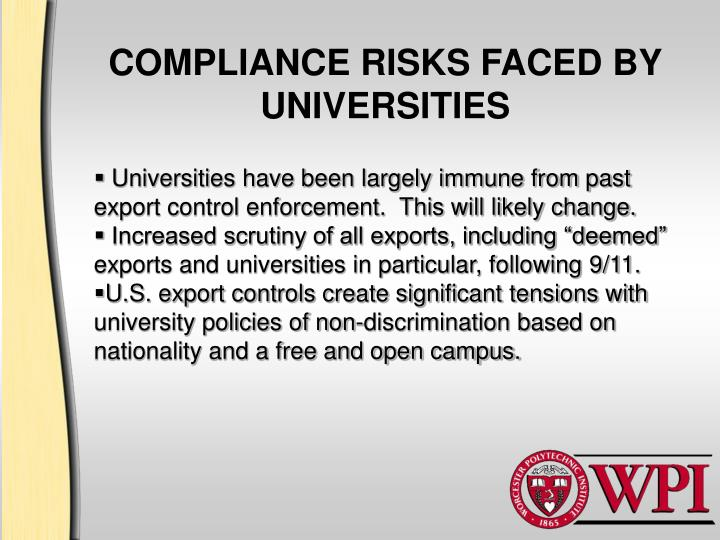 COMPLIANCE RISKS FACED BY UNIVERSITIES
