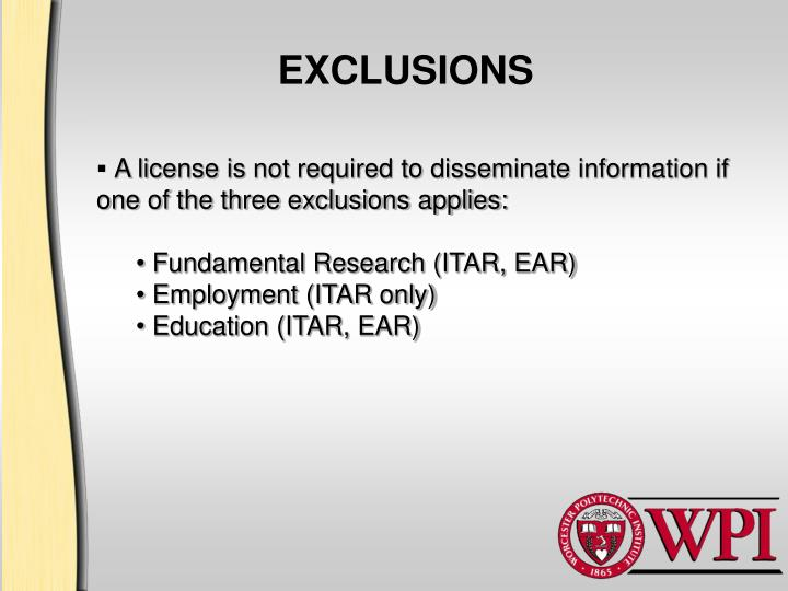 EXCLUSIONS