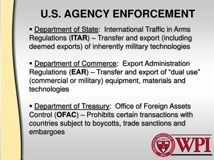 U.S. AGENCY ENFORCEMENT