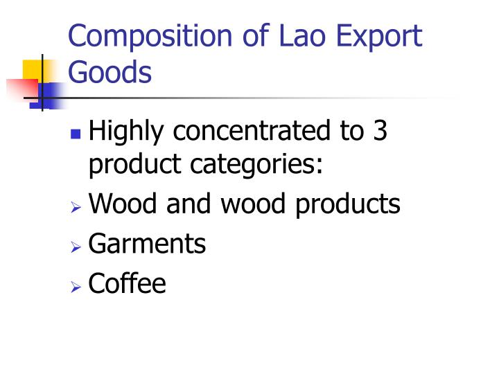 Composition of Lao Export Goods