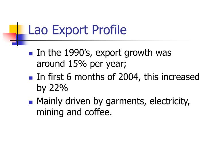 Lao Export Profile