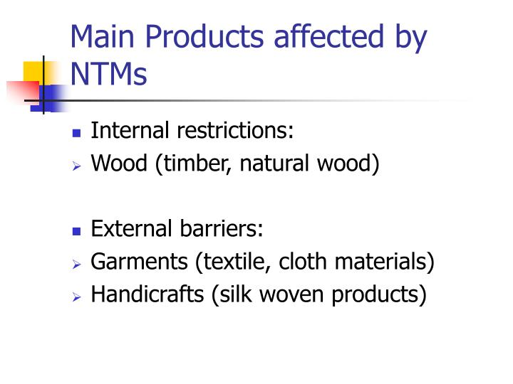Main Products affected by NTMs