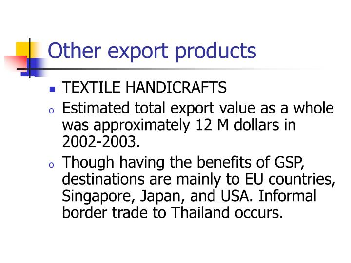 Other export products