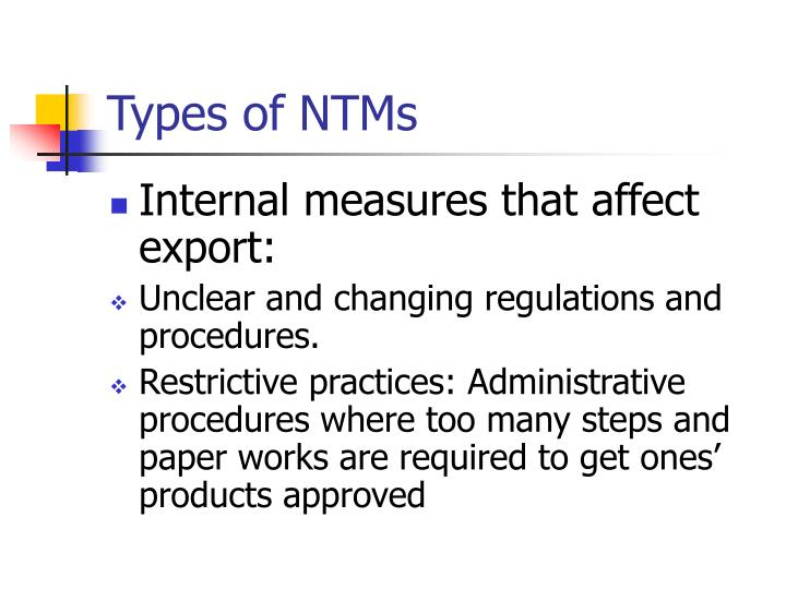 Types of NTMs