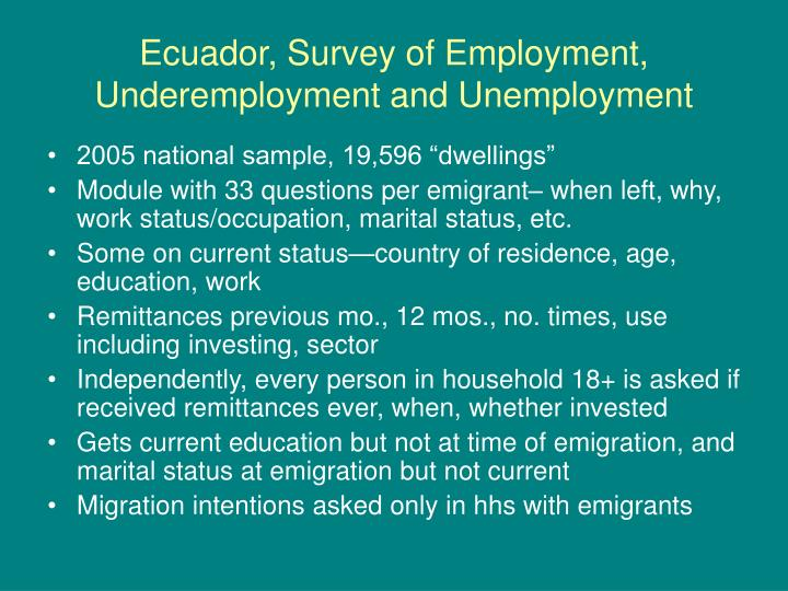 Ecuador, Survey of Employment, Underemployment and Unemployment