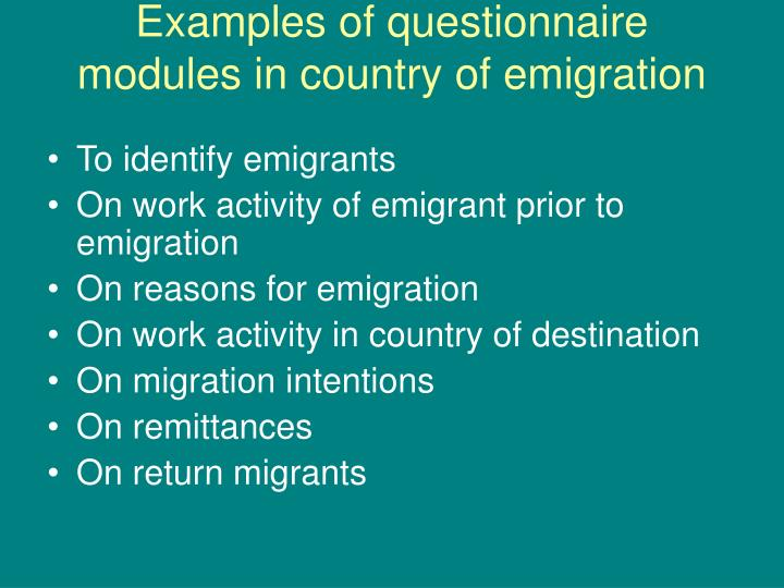 Examples of questionnaire modules in country of emigration