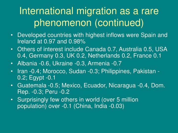 International migration as a rare phenomenon (continued)