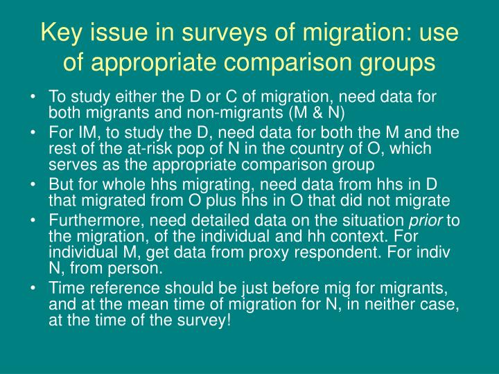 Key issue in surveys of migration: use of appropriate comparison groups
