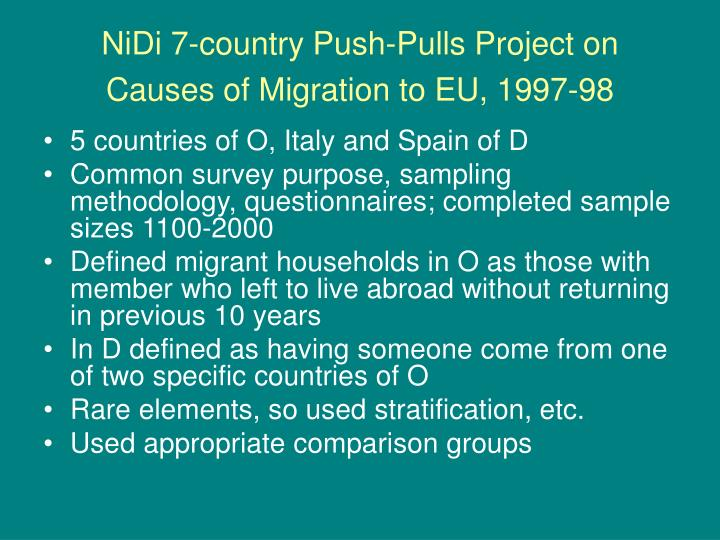 NiDi 7-country Push-Pulls Project on Causes of Migration to EU, 1997-98