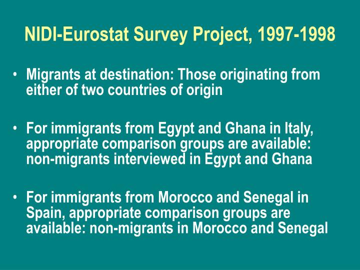 NIDI-Eurostat Survey Project, 1997-1998
