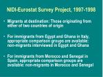 nidi eurostat survey project 1997 19981