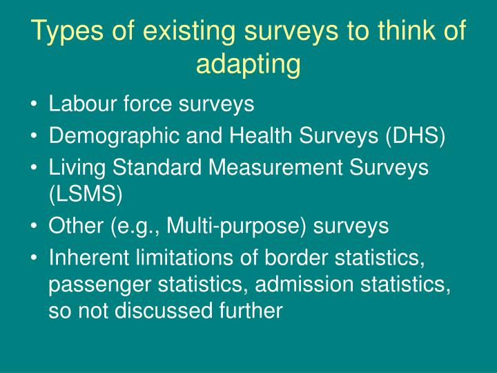 Types of existing surveys to think of adapting