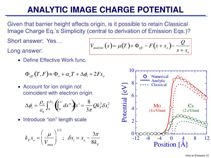 ANALYTIC IMAGE CHARGE POTENTIAL