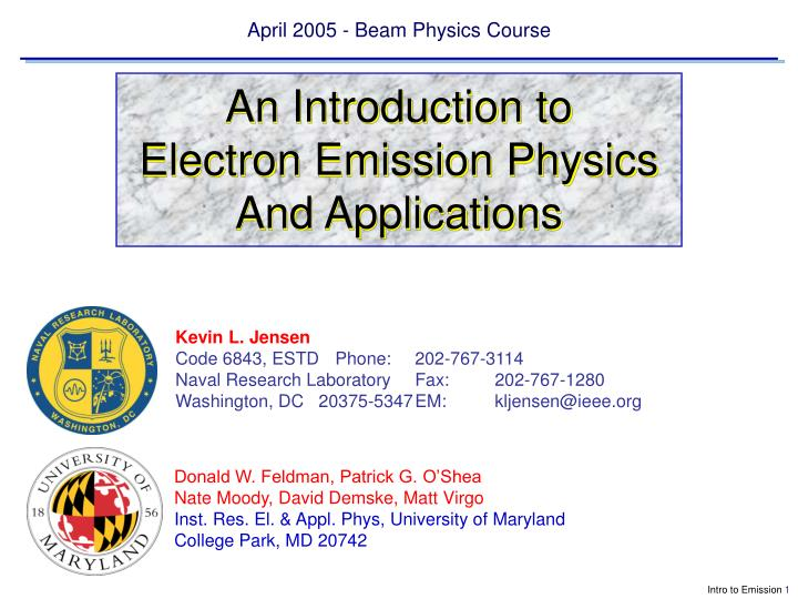 April 2005 beam physics course