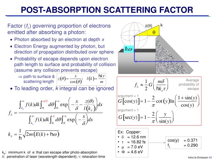 POST-ABSORPTION SCATTERING FACTOR
