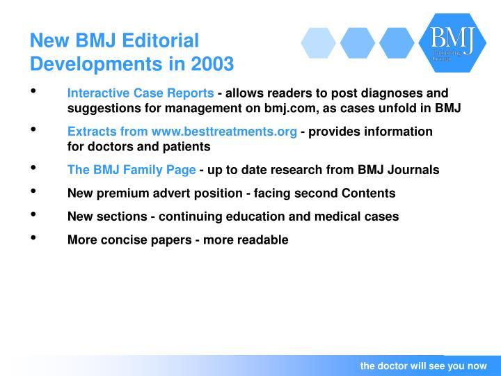 New BMJ Editorial