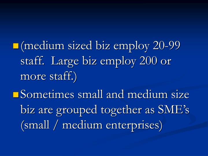 (medium sized biz employ 20-99 staff.  Large biz employ 200 or more staff.)