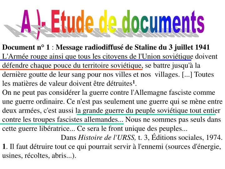 A )- Etude de documents