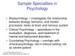 sample specialties in psychology