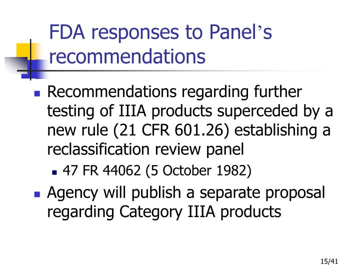 FDA responses to Panel
