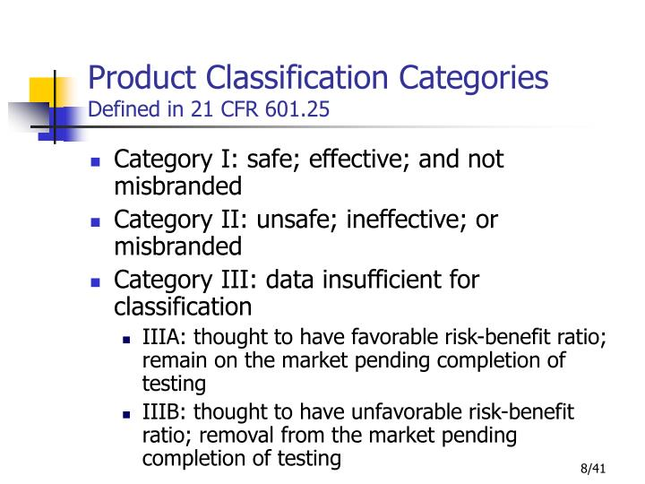 Product Classification Categories