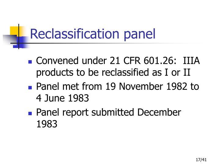 Reclassification panel