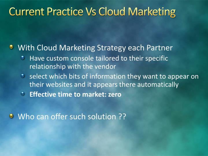 Current Practice Vs Cloud Marketing