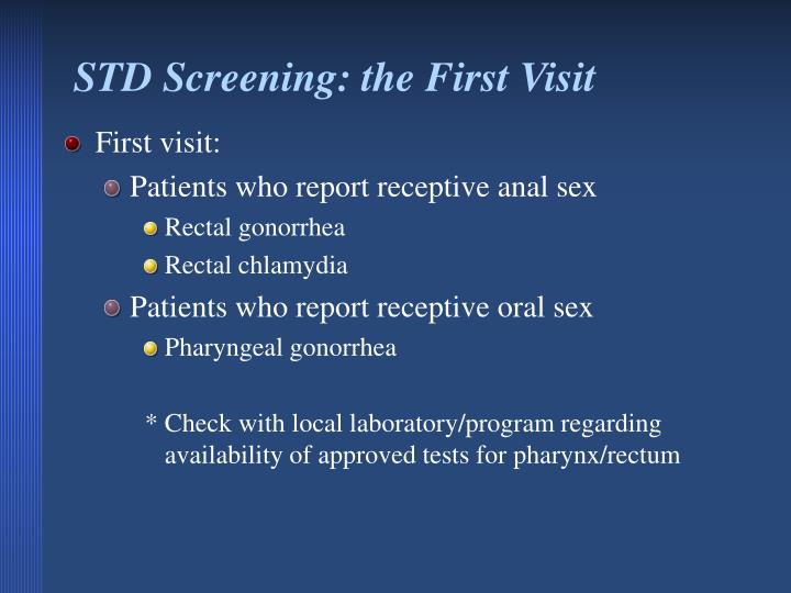 STD Screening: the First Visit
