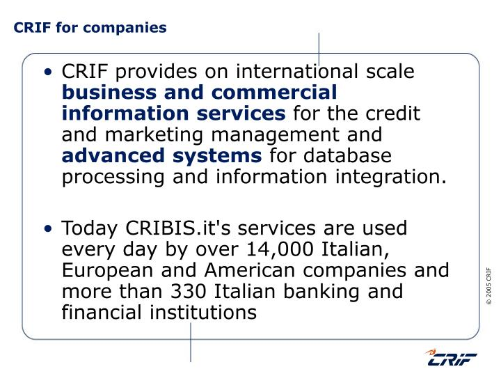 CRIF for companies
