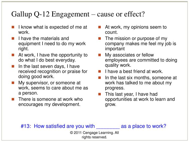 Gallup Q-12 Engagement – cause or effect?