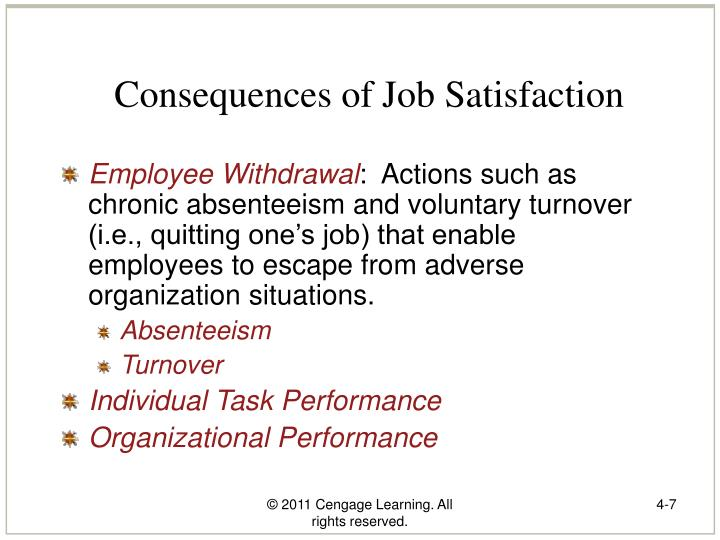 Consequences of Job Satisfaction